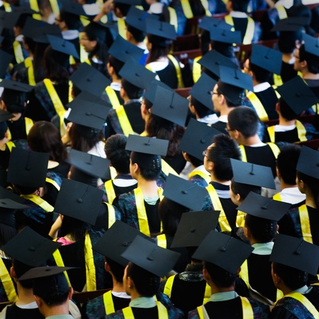 Shot of graduation caps during commencement. Stock Photo - 13447992