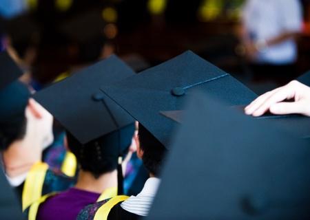 Plan de bouchons d'obtention de diplôme au cours de départ.