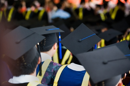 Shot of graduation caps during commencement. Stock Photo - 13448500