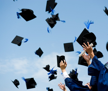 graduating: high school graduation hats high  Stock Photo