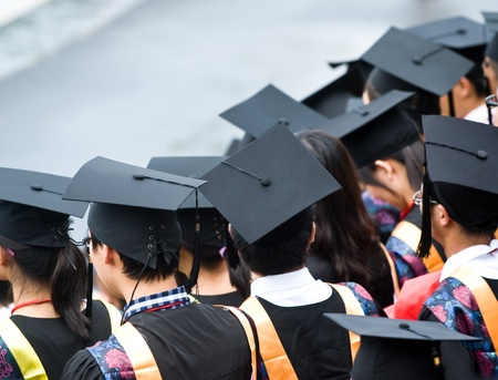 Shot of graduation caps during commencement. Stock Photo - 13447722
