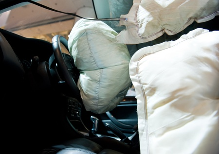 aftermath: Air bag deployed after car wreck aftermath.