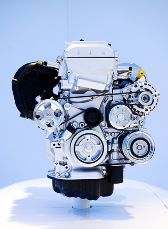 close up shot of brand new car engine. photo