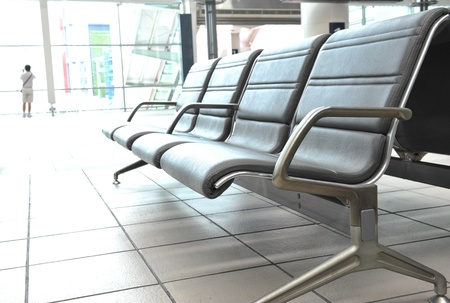 rushed: rushed passengers in the airport waiting room. Editorial