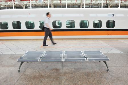 blur subway: detail of high speed railway station.