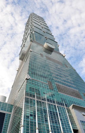Wide angle perspective of Taipei 101 from street level