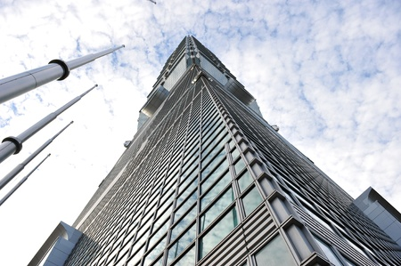 Wide angle perspective of Taipei 101 from street level  Stock Photo - 13537642
