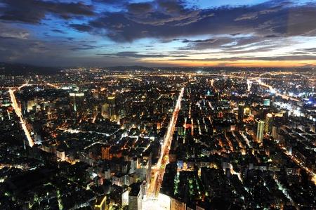 taipei city at night , view from Taipei 101 skyscraper , Taiwan.  photo