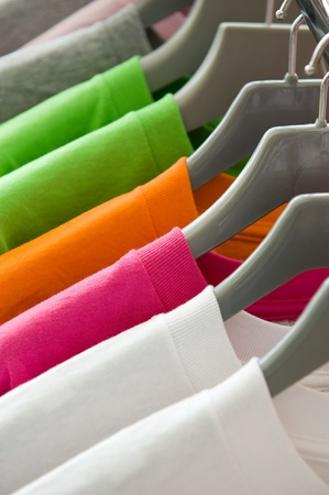 closets: fashion clothing on hangers at the show