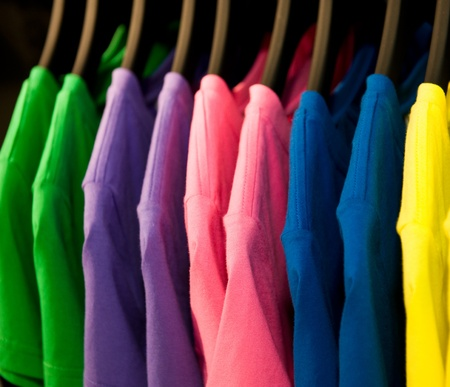 fashion clothing on hangers at the show  Stock Photo - 13535928