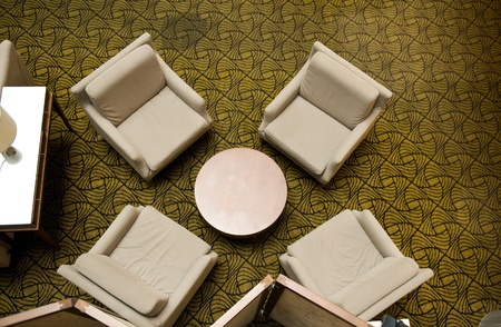 waiting room with four chairs and table, top view. Stock Photo - 13536363