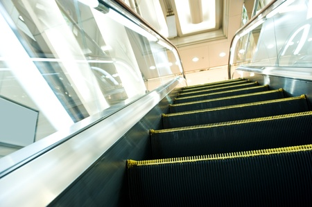 handrail: modern steps of moving business escalator