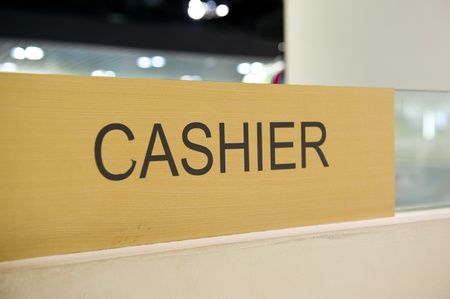 Cashier sign of a hotel.  photo