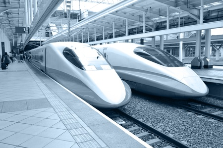 bullet train: Modern and fast commuter train inside the railway station in taipei.  Editorial