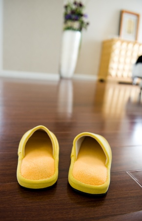 Slippers on the floor of hotel room.
