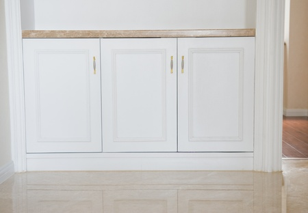 trims: Empty home interior , hardwood floors and moulding details. Stock Photo
