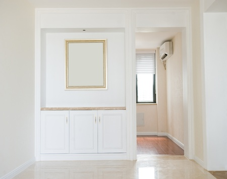 trim wall: Empty home interior , hardwood floors and moulding details. Stock Photo
