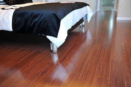 Luxury master bedroom with rich hardwoods. Stock Photo - 13536989