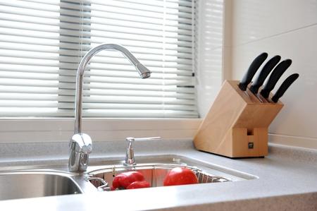 kitchen sink: detail of modern kitchen interior  Stock Photo