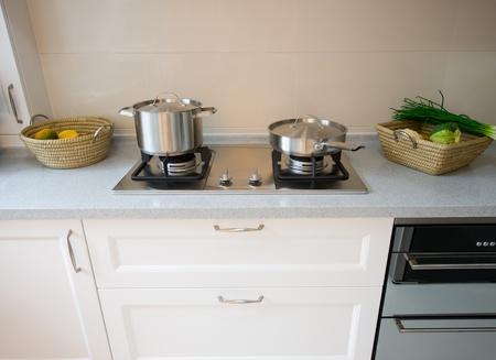 interior design of clean modern white and black kitchen. Stock Photo - 13536548