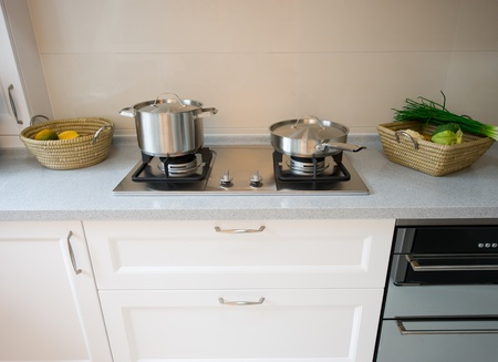 interior design of clean modern white and black kitchen. photo