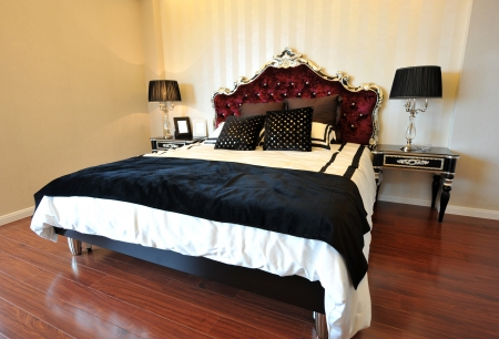 master: Double bed in the modern interior room
