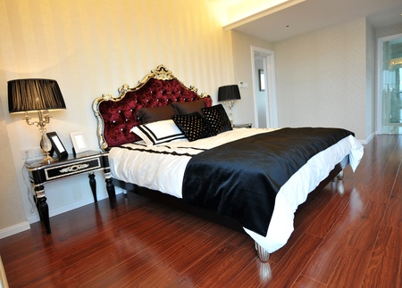 Double bed in the modern interior room  photo