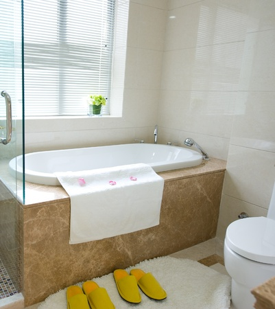 Bathtub in a luxurious hotel room. photo