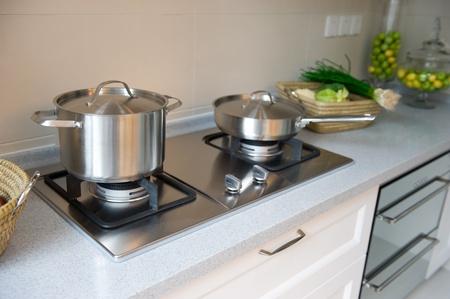 interior design of clean modern white and black kitchen. Stock Photo - 13536863