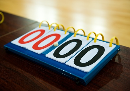 scoreboard: old score board in the basketball game. Stock Photo