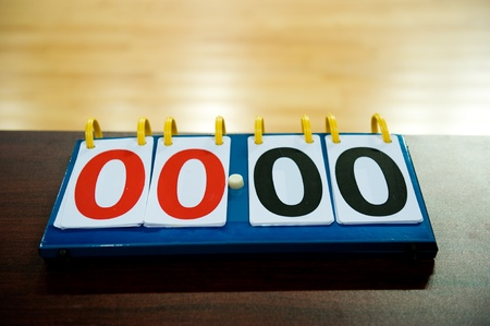 score board: old score board in the basketball game. Stock Photo
