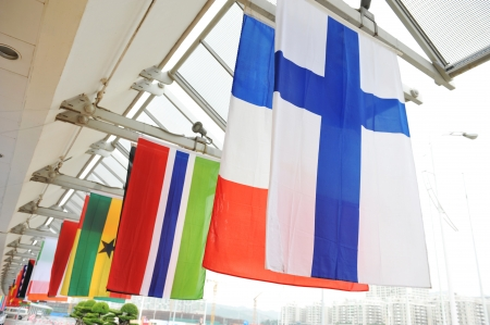 Grouping of various flags of the world. photo