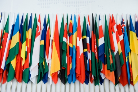 green flag: International flags in a row. Stock Photo