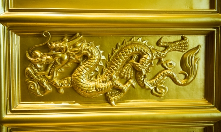 Chinese golden dragon at the wall. photo