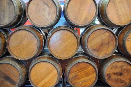 Wodden wine barrels in cellar. photo