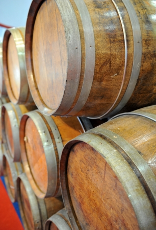 wine grower: Wodden wine barrels in cellar. Stock Photo