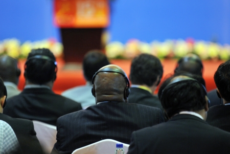 A international seminar was held in Xiamen International Conference and Exhibition Center, photo taken in September 2011. International Fair for Investment and Trade  Stock Photo - 13602280
