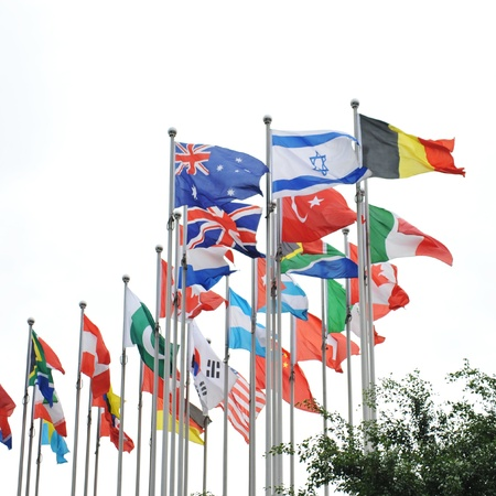 Flags of the world happily blowing in the wind. Stock Photo - 13616361