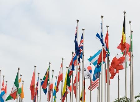 banderas del mundo: Banderas del mundo feliz en el viento.