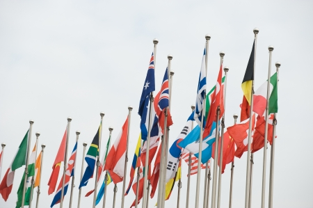Flags of the world happily blowing in the wind. Stock Photo - 13647950