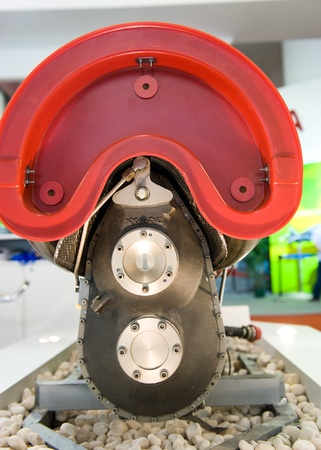 fuel chamber: detail of large aircraft jet exposed.