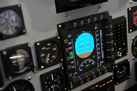 avionics: Internal of Cockpit - Aircraft Registration and Visible logo removed Stock Photo