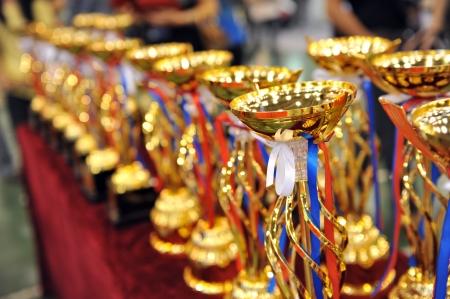 premios: Muchos trofeos de oro en una fila.