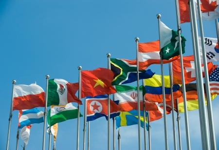 multinational: Flags of the world happily blowing in the wind.