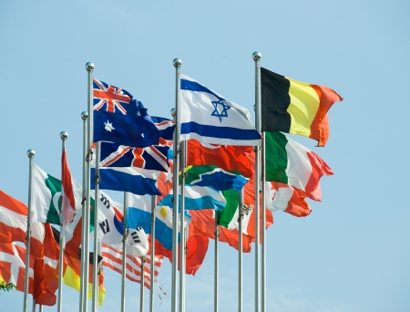 Flags of the world happily blowing in the wind. Stock Photo - 13660605