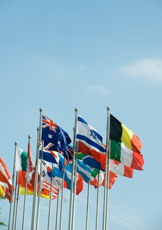 Flags of the world happily blowing in the wind. Stock Photo - 13660594