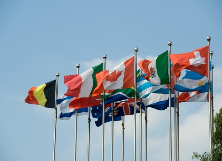 Flags of the world happily blowing in the wind. Stock Photo - 13660608