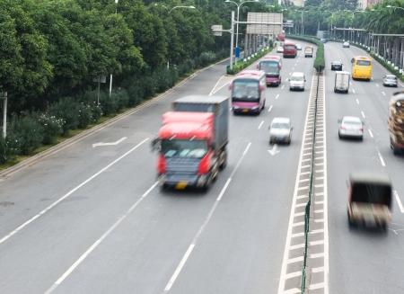 autotruck: speed evening traffic, motion blur.