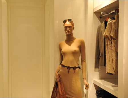 tailored: woman costumes on shop mannequins