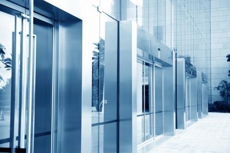 glass door of the office building.  photo